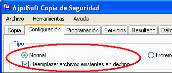 AjpdSoft Copia de Segurdad - Tipo de copia Normal