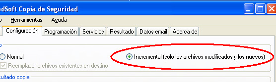 AjpdSoft Copia de Segurdad - Tipo de copia Incremental