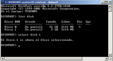Extender disco duro de datos de una SAN en un equipo con Windows Server 2003  - Extender tamaño unidad de disco en Windows 2003