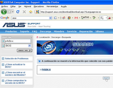 Actualización BIOS placa base Asus - Sitio web para descarga de BIOS