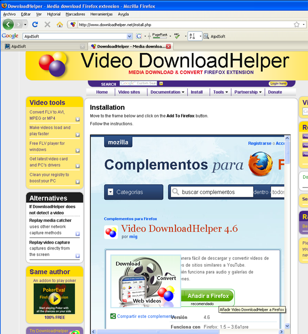 AjpdSoft Cómo descargar videos de Youtube y de otras páginas con videos en streaming - Instalación Video DownloadHelper