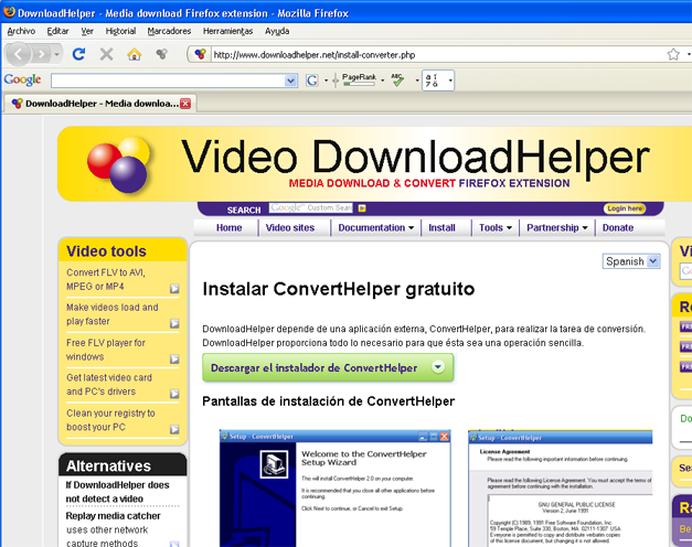 AjpdSoft Cómo descargar videos de Youtube y de otras páginas con videos en streaming - Instalación de ConvertHelper