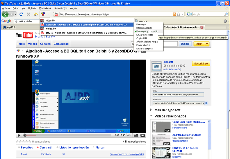 AjpdSoft Cómo descargar videos de Youtube y de otras páginas con videos en streaming - Prueba de Video DownloadHelper descargando un video de Youtube