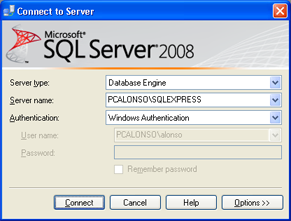 AjpdSoft Instalar y administrar Microsoft SQL Server 2008 Express SP1 Runtime with Advanced Services -  Administrar SQL Server 2008 Express con la herramienta SQL Server Management Studio