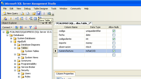 AjpdSoft Instalar y administrar Microsoft SQL Server 2008 Express SP1 Runtime with Advanced Services -  Crear una tabla en SQL Server con SQL Server Management Studio