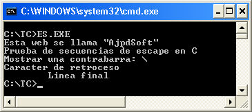 AjpdSoft Secuencias de escape en C