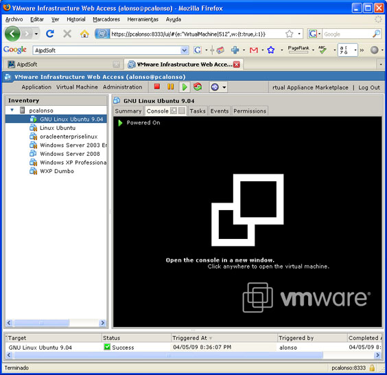 Instalar GNU Linux Ubuntu 9.40 Beta virtualizado con VMware Server 2.0 - Crear máquina virtual en VMware Server 2.0