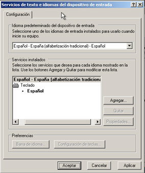 Servicios de texto e idiomas del dispositivo de entrada - Instalación de Windows XP SP3