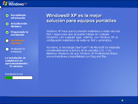 Instalación de la red del equipo - Instalación de Windows XP SP3