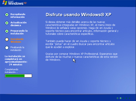 Finalización de la instalación - Instalación de Windows XP SP3