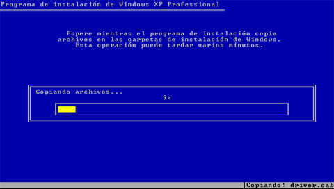 Progreso copia de ficheros - Instalación de Windows XP SP3
