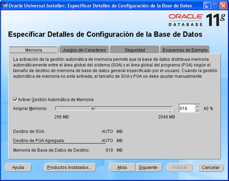 Instalación de Oracle Database 11g Standard Edition en Windows XP Profesional - Asistente de instalación de Oracle
