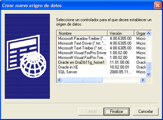 Instalación de Oracle Database 11g Standard Edition en Windows XP Profesional - Crear ODBC para acceso a Oracle Database 11g