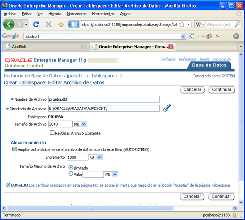 Instalación de Oracle Database 11g Standard Edition en Windows XP Profesional - Crear tablespace