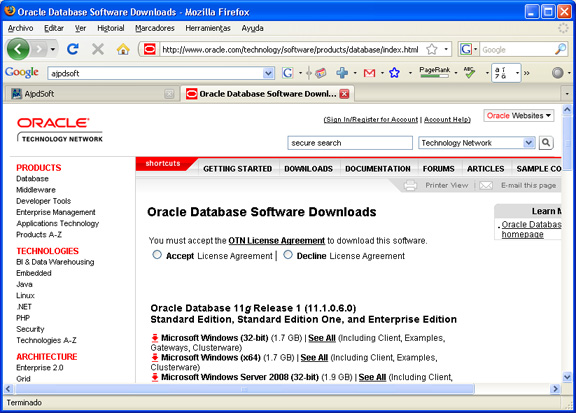 Instalación de Oracle Database 11g Standard Edition en Windows XP Profesional - Descarga del fichero de Oracle
