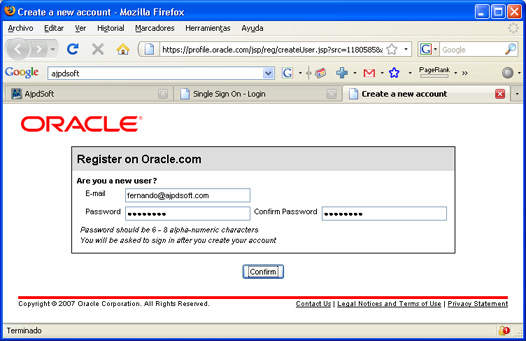 Instalación de Oracle Database 11g Standard Edition en Windows XP Profesional - Registro de usuario Web Oracle