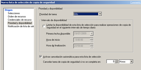 AjpdSoft Instalar Symantec Backup Exec 12.5 for Windows Servers en Windows Server 2003 - Añadir lista de selección de copia de seguridad