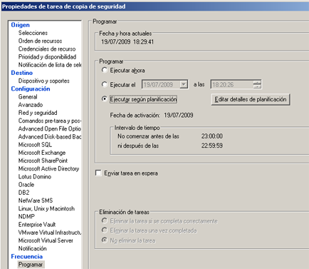 AjpdSoft Instalar Symantec Backup Exec 12.5 for Windows Servers en Windows Server 2003 - Añadir nueva tarea de copia de seguridad en Symantec Backup Exec