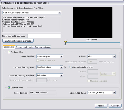 Ventana de configuración de codificación de Flash Video - Flash 8 Video Encoder