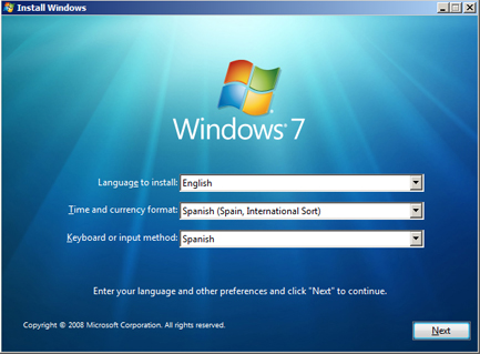 Instalar Microsoft Windows 7 Ultimate Beta 1 - Idioma