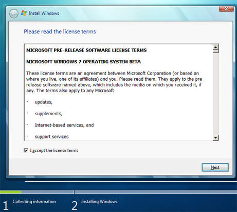 Instalar Microsoft Windows 7 Ultimate Beta 1 - Acuerdo de licencia