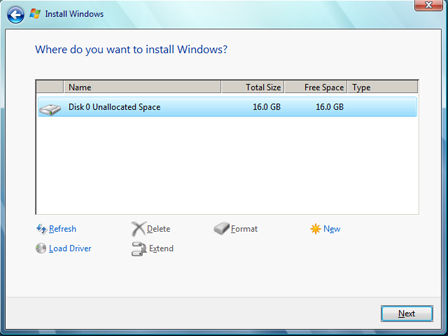 Instalar Microsoft Windows 7 Ultimate Beta 1 - Particionamiento