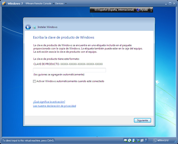 AjpdSoft Instalación de Microsoft Windows 7 Ultimate virtualizado en VMware Server 2.0.1 - Instalar Windows 7 Ultimate
