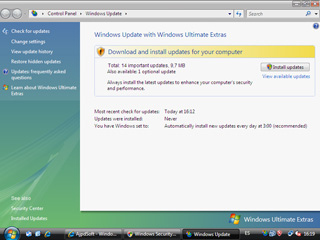 Opciones de Windows Update - Windows Vista Beta 2