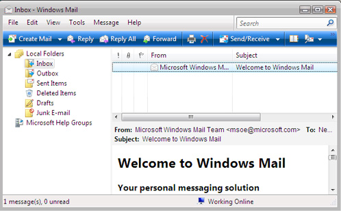 Microsoft Mail - Windows Vista Beta 2