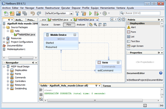 AjpdSoft Vistas del IDE NetBeans: Source, Screen y Flow