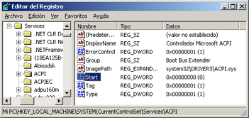 AjpdSoft Proceso de arranque en Windows Server 2003 - Registro - Services - Valor con la clave START igual a cero