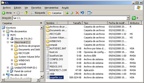 AjpdSoft Proceso de arranque en Windows Server 2003 - Archivo PAGEFILE.SYS