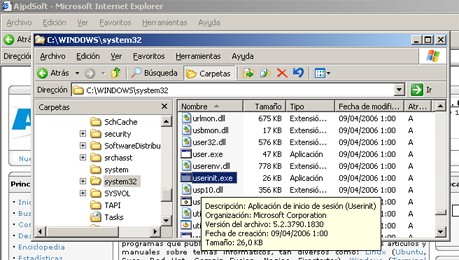 AjpdSoft Proceso de arranque en Windows Server 2003 - Fichero USERINIT.EXE