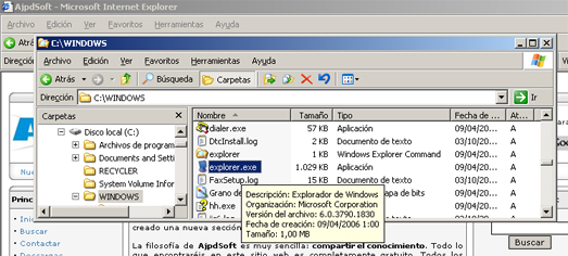 AjpdSoft Proceso de arranque en Windows Server 2003 - El fichero EXPLORER.EXE