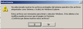 AjpdSoft Proceso de arranque en Windows Server 2003 - Opciones de carpeta - Aviso