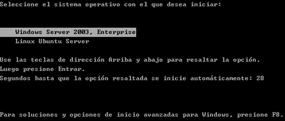 AjpdSoft Proceso de arranque en Windows Server 2003 - Menú de arranque BOOT