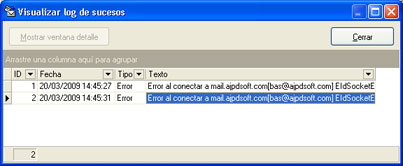 Software Libre AjpdSoft Comprobar E-Mail y AntiSpam - Visualizar log de sucesos