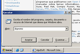 Windows Server 2003 a controlador de dominio - Ejecutar dcpromo