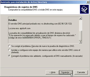 Windows Server 2003 a controlador de dominio - Diagnóstico de registro de DNS