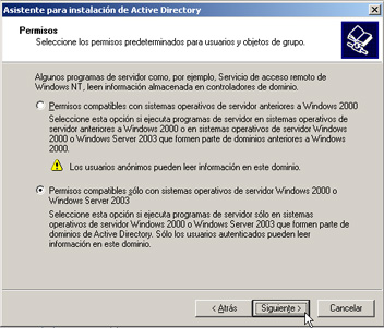 Windows Server 2003 a controlador de dominio - Compatibilidad de permisos