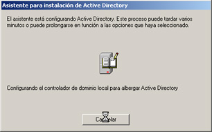 Windows Server 2003 a controlador de dominio - Progreso de la instalación de Active Directory
