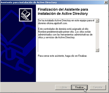 Windows Server 2003 a controlador de dominio - Finalización del proceso