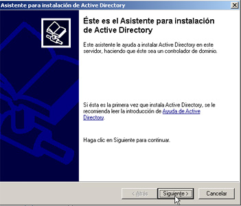 Windows Server 2003 a controlador de dominio - Asistente de instalación de Active Directory