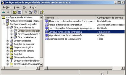 Windows Server 2003 a controlador de dominio - Configuración de seguridad de dominio predeterminada
