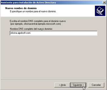 Windows Server 2003 a controlador de dominio - Nombre del dominio