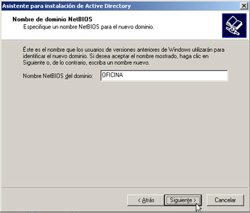 Windows Server 2003 a controlador de dominio - Nombre NetBIOS del dominio