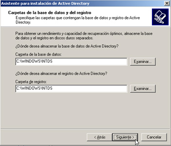 Windows Server 2003 a controlador de dominio - Ubicación NTDS