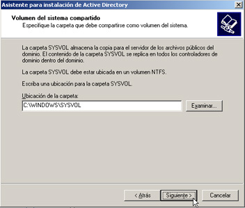 Windows Server 2003 a controlador de dominio - Ubicación SYSVOL