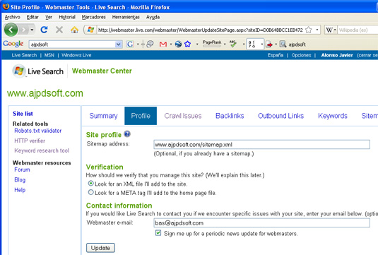Live Search Webmaster Center - Profile