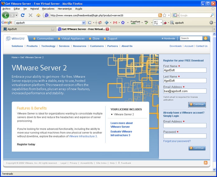 Virtualización con VMware Server 2.0 - Descarga de VMware Server 2.0